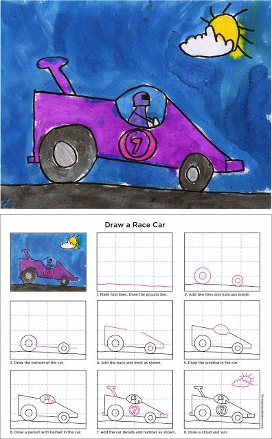 How to Draw a Race Car - ART PROJECTS FOR KIDS