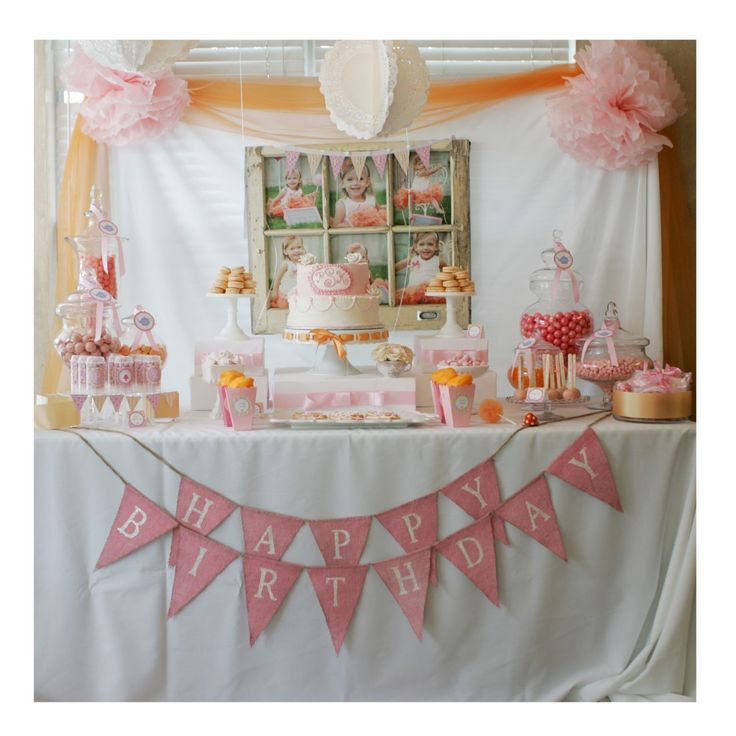 Cute birthday theme: Teacups & Tutu's Par-tea - the execution on this party is perfection! We love the sweets table - #party #kidsparty #partyidea: Photo Display, Teas Cups, Birthday Parties, 1St Birthday, Burlap Banners, Parties Ideas, Tutu Parties, Desserts Tables, Teas Parties