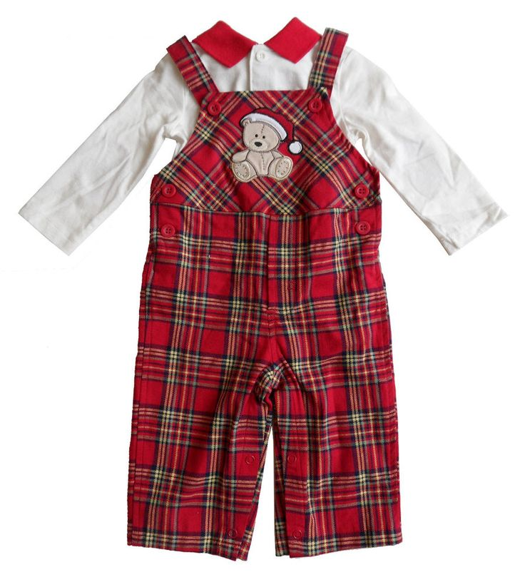 new FIRST IMPRESSIONS boys 3 to 6 mo RED PLAID OVERALLS CHRISTMAS PANTS SET nwt #FirstImpressions #Holiday