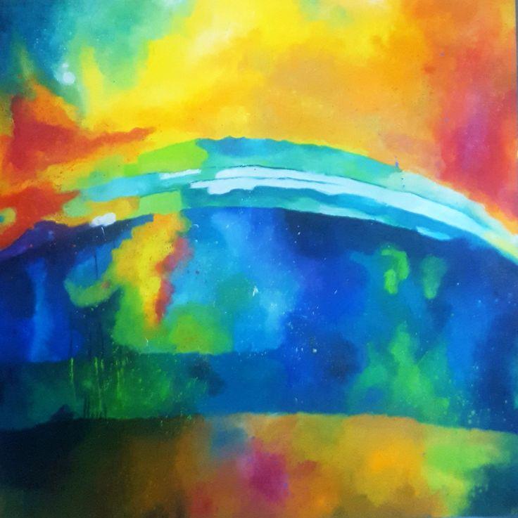 Hopeful future (large painting)(100x100cm) by silaloba on Etsy