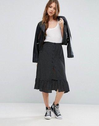 Asos Button Through Midi Skirt In Spot Print