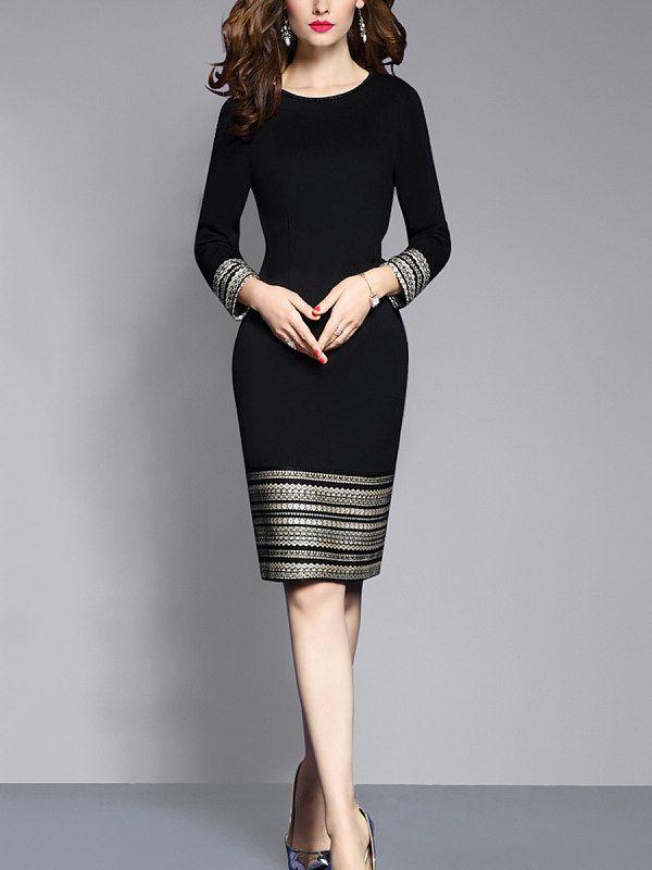 Round Neck Plain Blend Bodycon Dress – Cathybuy.com