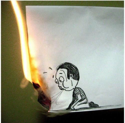 and it burns burns burns: Funny Pictures, Street Art, Inspiration Pictures, Mornings Coff, Creative Art, Photo, Funny Art, Drawing, Tried Harder