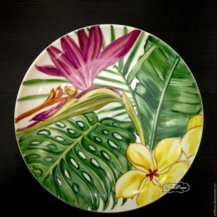 Купить Роспись фарфора Тарелки на стену Тропики - роспись фарфора, роспись по фарфору