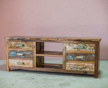 Kleurrijk, duurzaam, authentiek en op en top design. Het tv meubel seventies behoort duidelijk niet tot de standaard meubels. Dit meubel is met de hand gemaakt op Bali van hout van oude…