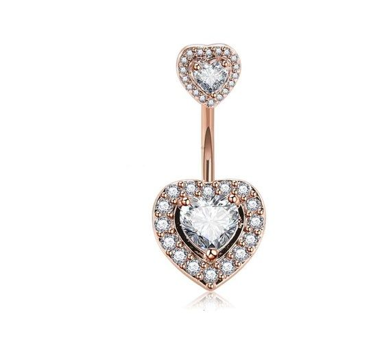 14G Clear Heart Shaped CZ Double Gem Belly Ring Stainless or Rose Gold
