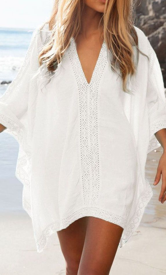 White Oversize V-neck Poncho Beach Cover Up Blouse Dress-top