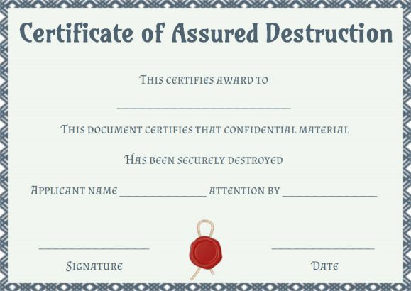New Free Certificate Of Destruction Template In 2021 Certificate Of Participation Template Certificate Of Achievement Template Certificate Templates