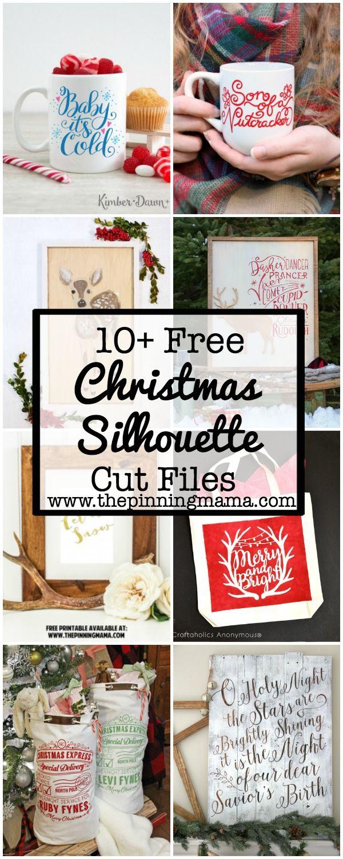 10+ Free Christmas Silhouette Cut Files   www.thepinningmama.com