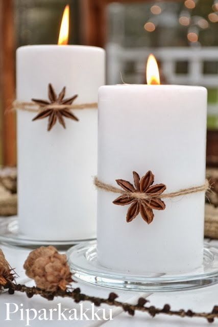 I love the simplicity of this: star anise with twine around white candle. This could be for Christmas or for anytime.