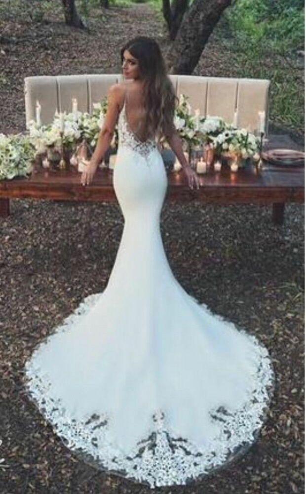 Ebay Sponsored Spaghetti Straps Sheath Lace Wedding Dress 2018 Low Back Long Train Bridal Enzoani Wedding Dresses Wedding Dress Low Back Wedding Dresses Lace