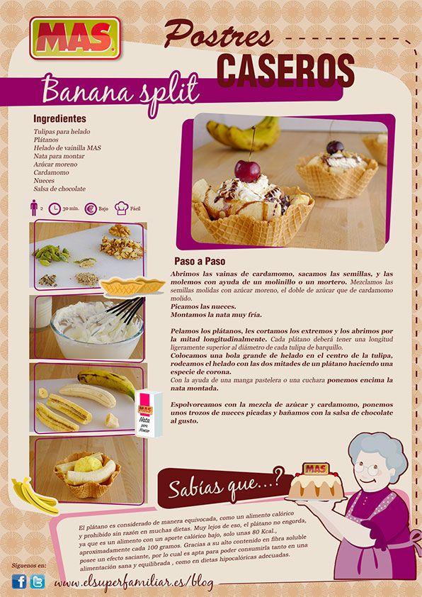 Nada mejor para un postre veraniego que la combinación de fruta y helado, como nuestro delicioso Banana Split de hoy... #InfoReceta #Receta