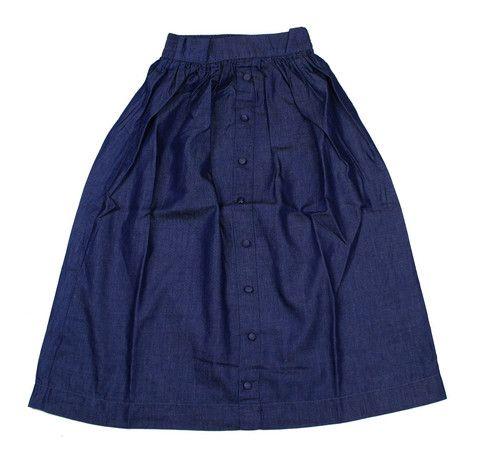 Teela Long Knit Button Dark Denim Skirt - Young Timers Boutique