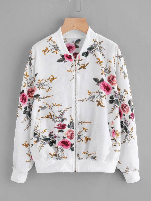 New Womens Bomber Jacket Plus Size Ladies Butterfly Floral Print Ribbed Style