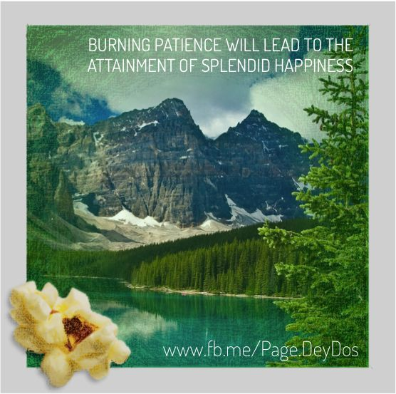 """Burning patience will lead to the attainment of splendid happiness."" #PhotoPopcorns #DeyDos"