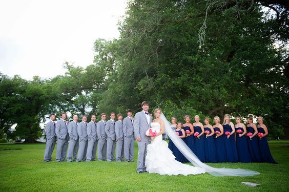 Coral Navy and Grey wedding