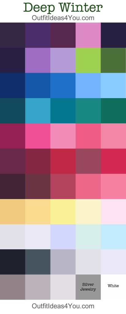 Here is your complete deepwinterseasonal color palette!  Not sure if you are a DeepWinter? Take the online seasonal color analysis quiz<= Click here to take the quiz. DeepWinterSeasonal Color Analysis:Cool and Deep If you have dark eyes and dark hair... with cool undertones... you