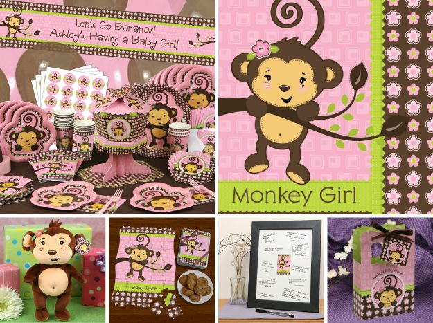 Monkey Girl Party Ideas  http://www.bigdotofhappiness.com/monkeygirltheme.html  Baby Shower Decorations and 1st Birthday Party Ideas