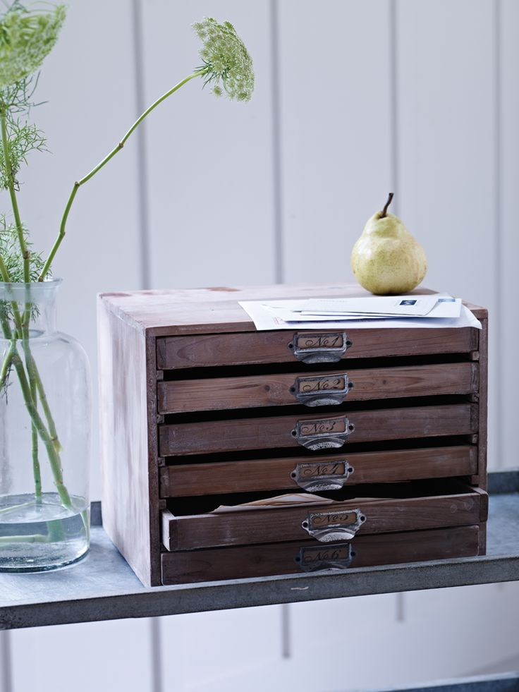 Wooden Set of Drawers  UK site.  Something similar would be PERFECT for keeping bills organized