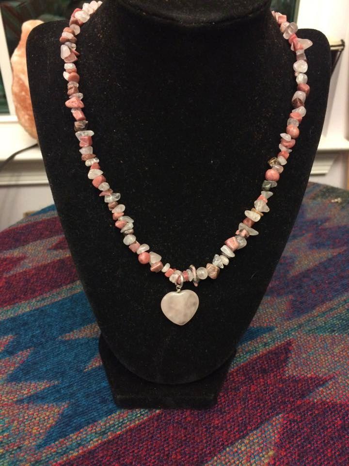 Rose Quartz Heart pendant on 18 inch Rhodonite beaded Necklace by WyrdWytchWayz on Etsy