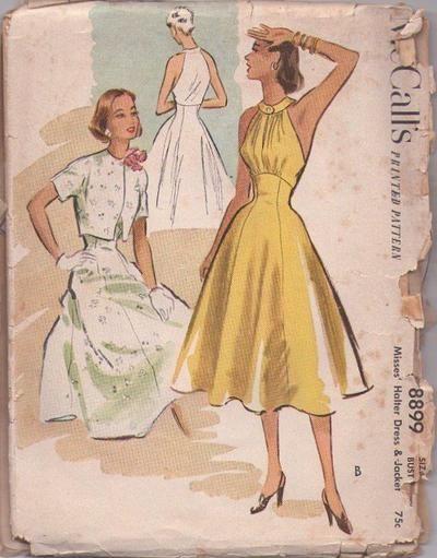 MOMSPatterns Vintage Sewing Patterns - McCall's 8899 Vintage 50's Sewing Pattern SENSATIONAL Marilyn Monroe Summer Halter Sundress, Cutaway ...