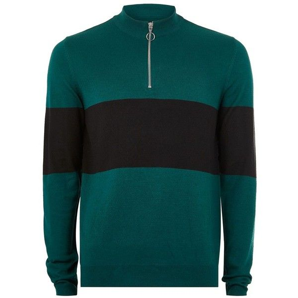 TOPMAN Teal and Black Zip Jumper (130 BRL) ❤ liked on Polyvore featuring men's fashion, men's clothing, men's sweaters, blue, mens zipper sweater, mens zip sweater, mens half zip sweater, mens blue sweater and mens slim fit sweater