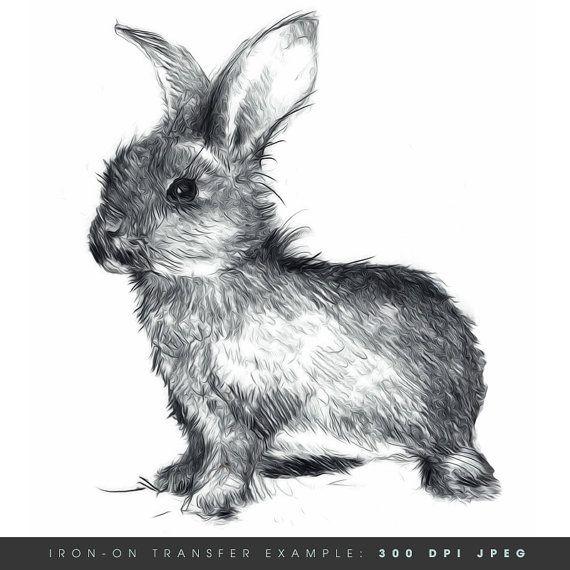 Instant Download. Happy Bunny. Rabbit Iron On Transfer Art. DIY Digital Art. Printable Art.