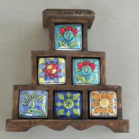 Multi utility mini chest of ceramic drawers.