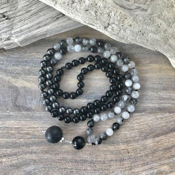 Black Rutilated Quartz Mala Necklace, Mala Beads, Knotted Mala, Gemstone Mala, Root Chakra Mala, Onyx and Hematite
