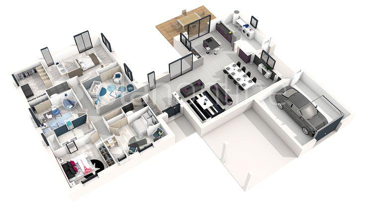 """Résultat de recherche d'images pour """"plan maison 5 chambres 3d"""""""