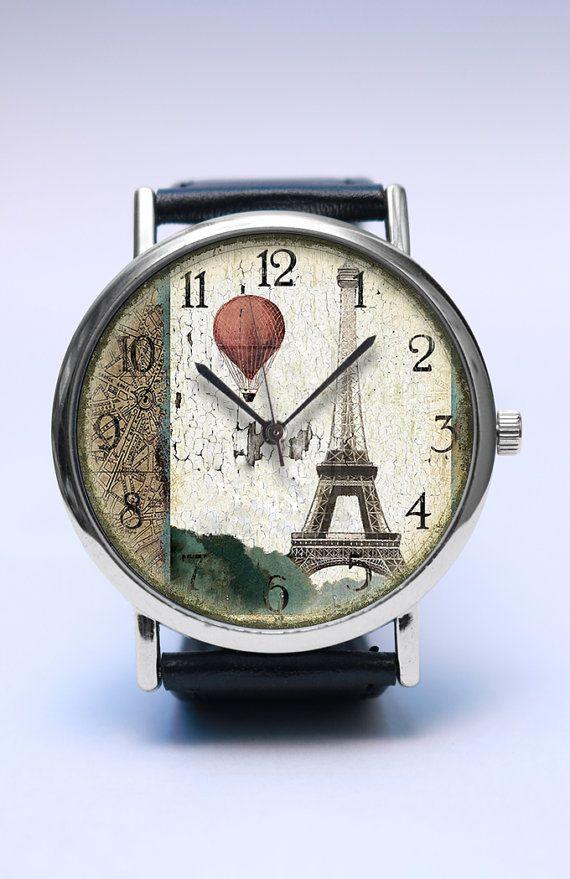 Reizen in Parijs handgemaakte Watch, hete luchtballon, Vintage-stijl lederen…