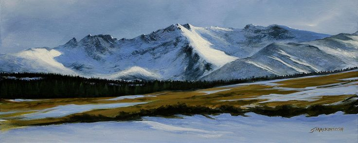 The Warrior under the snow  by Scottish contemporary landscape painter J Mackintosh