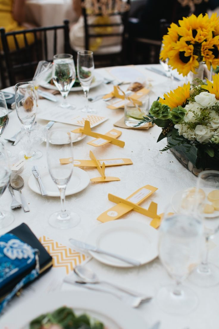 Yellow and White Air Force Wedding