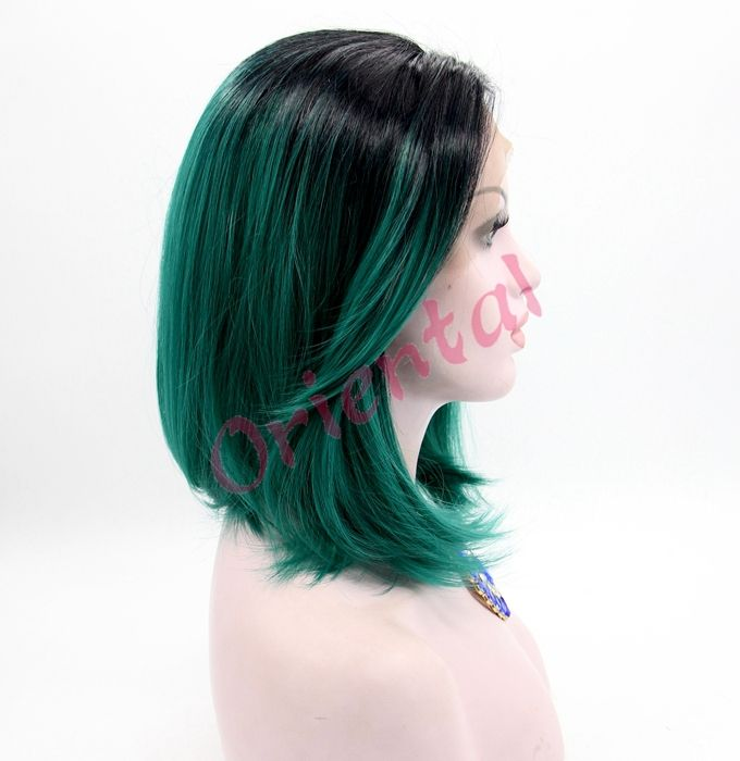 Find More Synthetic Wigs Information about Free shipping new summer fashion black and green cheap ombre short bob wig synthetic lace front wig for women,High Quality fashion digital,China wig caps for lace wigs Suppliers, Cheap wig head from Oriental Beauty Hair  on Aliexpress.com