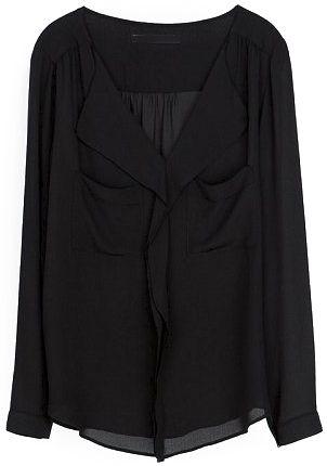 Black V Neck Long Sleeve Pockets Chiffon Blouse 8.90