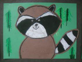 raccoon art lesson, nocturnal animals art
