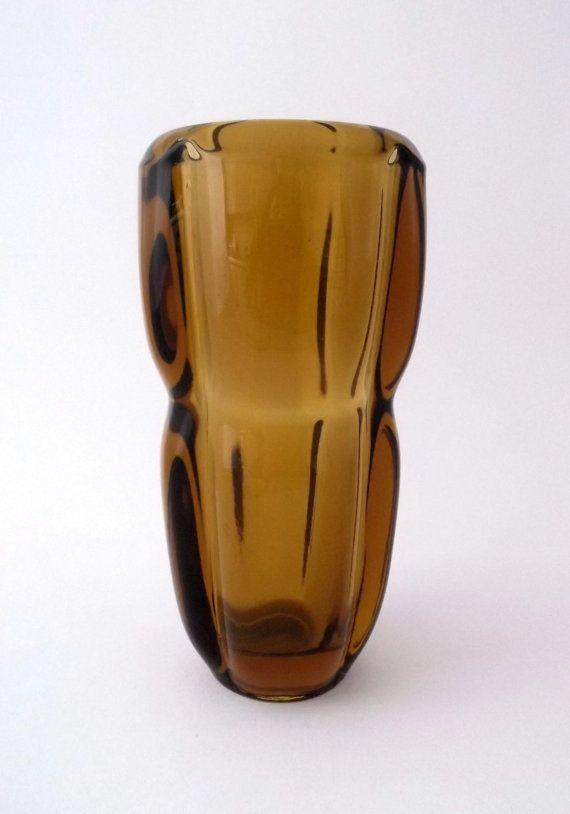 Sklo Union Frantisek Vizner Rudolfova 13139 -- amber glass vase -- Czech pressed glass