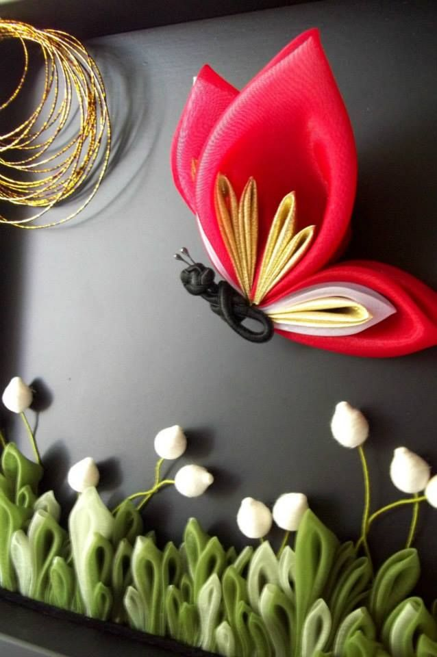 Kanzashi Butterfly Art (Fabric Origami)
