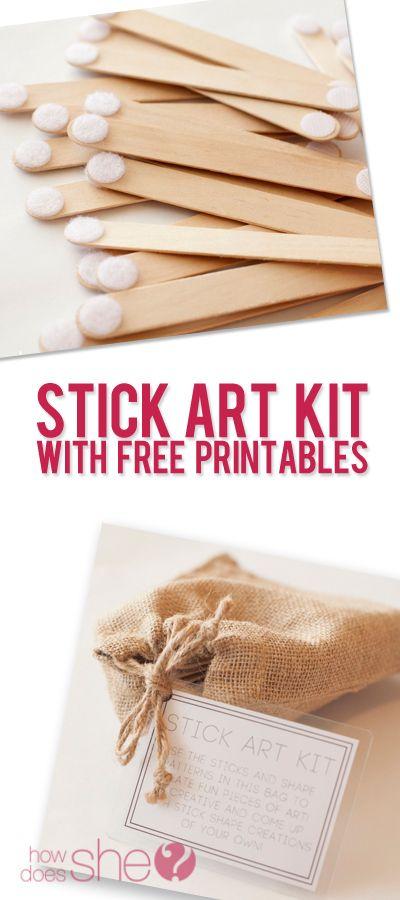 Stick Art Kit With Free Printables #howdoesshe #gifts #familytime #boys #girls howdoesshe.com