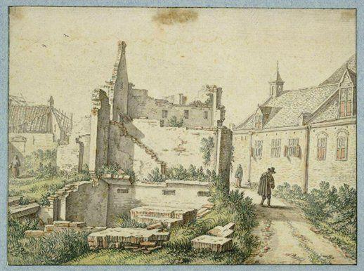 Herman Saftleven, Gezicht in de Gasthuissteeg te Utrecht na de tornado van 1674 met in het midden een geruïneerd huis en rechts het Heilige Kruisgasthuis.