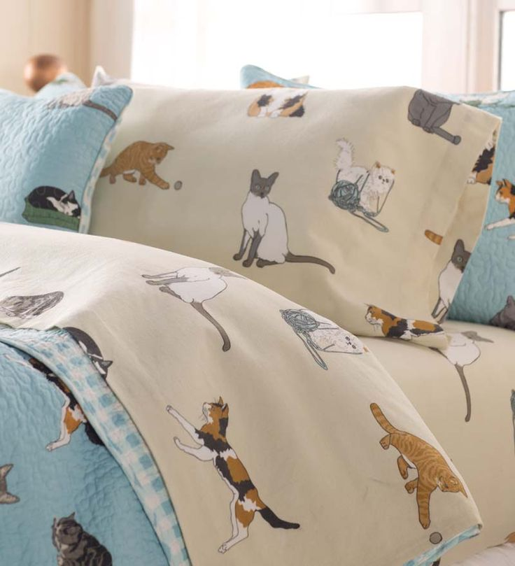 Twin Kitten Caboodle Flannel Sheet Set | Collection Accessories