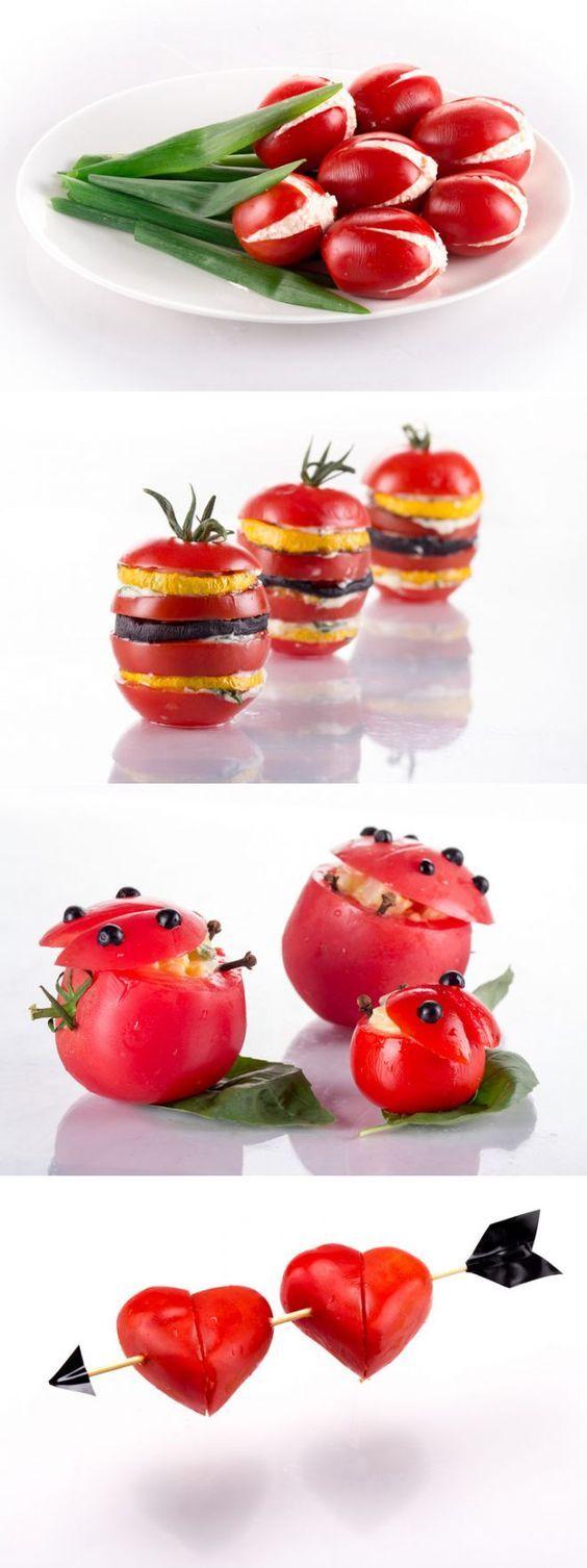 """8 простых и красивых закусок из помидоров   статьи рубрики """"Готовим дома""""   Леди Mail.Ru   салаты оформление   Постила:"""