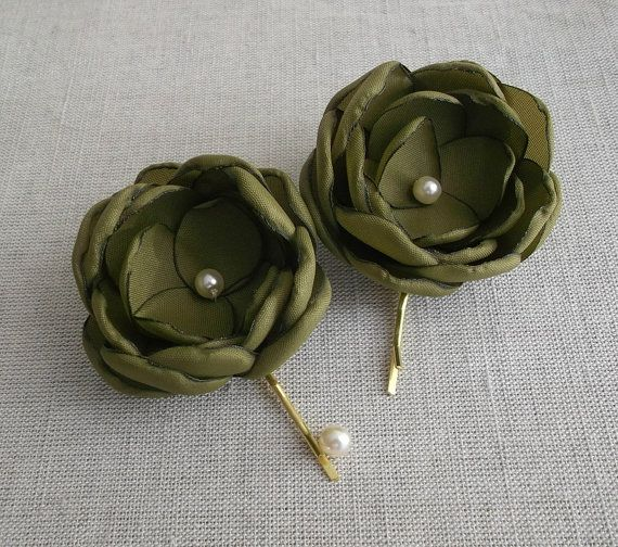 Olive green fabric flowers in handmade Olive hair by ZBaccessory, $14.00