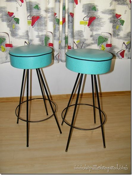 I remember doing these!    Vintage 1950s Retro Turquoise Bar Stools from Dee Manufacturing