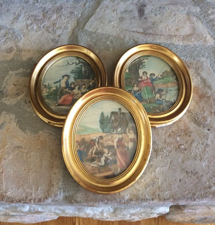 Vintage Set of 3, Gold Framed Italian Pictures, Convex Glass, Statement Wall Decor, French Country, Hollywood Regency by YellowHouseDecor on Etsy https://www.etsy.com/listing/521406584/vintage-set-of-3-gold-framed-italian