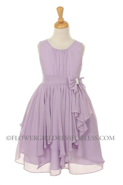 KK_2040L - Girls Dress Style 2040 - LILAC- Chiffon Dress with Rhinestone Waist Bow - Lilac - Flower Girl Dress For Less