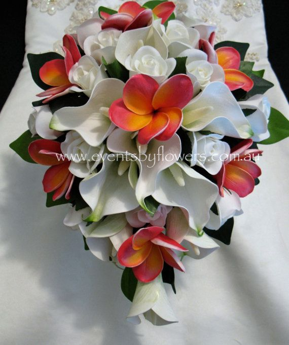 Wedding Bouquet Frangipani Calla Lily Rose by eventsbyflowers, $164.99