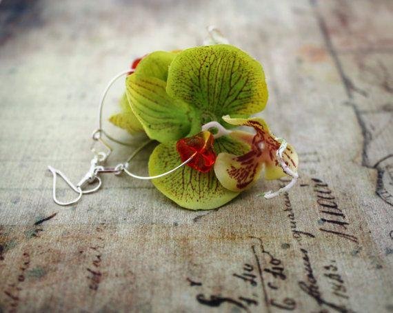 Green Orchid Flower Earrings Floral Earrings Flower Jewelry