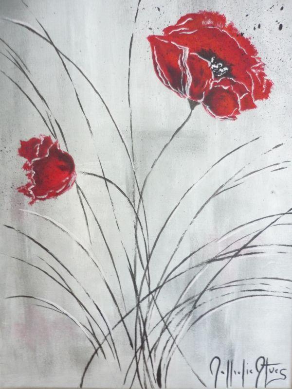 Tableau Peinture Art coquelicot rouge moderne Fleurs Acrylique  - coquelicot