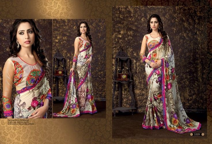 """""""Sarees for 2499/-"""" Pls call/whatsapp +919600639563. Code: saf sccrmpnk Price: 2250/- Material: Georgette saree with designer blouse. For booking and further details pls call or whatsapp us at +919600639563. Happy shopping y'all :) Be Beautiful :)"""